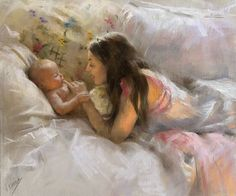 ARTIST: Vicente Romero Redondo ~ There is a fine line between honest and overly sentimental artwork. We all draw the line in a different place. This piece deals with a very sentimental subject but is rescued by its technical competance.