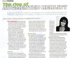 Lyn Davis, Marketing Director of PocketMedia Solutions, spreads the word about augmented reality to Advantage Magazine readers