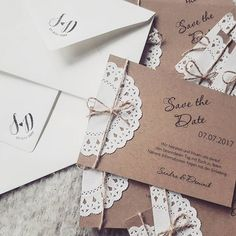 Save the date karten im Vintage Stil und Tortenspitz DIY Kraftpapier Hochzeit