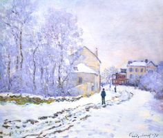 Snow at Argenteuil, National Gallery London Claude Monet . Monet painted of his home commune of Argenteuil while it was under a blanket of snow during the winter of Monet Paintings, Paintings I Love, Landscape Paintings, Landscapes, Claude Monet, Artist Monet, Painting Snow, Painting Art, Edgar Degas