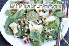 Pear & Blue Cheese Salad with Warm Bacon Vinaigrette | 5DollarDinners.com