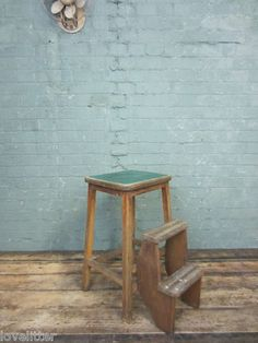 Vintage Industrial Wooden Step Stool Kitchen Chair Stool Library Stairs Ladder | eBay