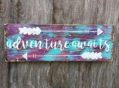 Adventure Awaits Sign, Reclaimed Wood Boho Bedroom Decor, Bohemian Girls Room, Galaxy Wall Art, Cursive Signage, Inspirational Nursery