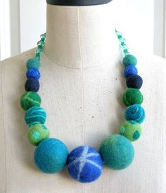Huge Blue Balls  felt ball necklace by Tefi on Etsy, $35.00