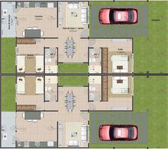 Planta de casa geminada com 2 quartos - Cód. 151 | Só Projetos #fachadasmodernasresidenciais
