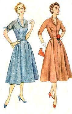 Vintage 50s Dress Pattern - Simplicity 4300 - Kimono Sleeves - Shawl Collar - Bust Gathers