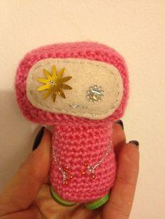 Amigurumi crochet geek robot - pink starry-eyed girlbot £5.50