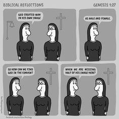 Biblical Reflections: Genesis 1:27 – Cartoon Theology Christian Cartoons, Christian Humor, Genesis 1 27, Church Humor, Reflection, Comics, Memes, Comic, Jokes