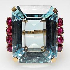 Vintage Retro Emerald Cut Natural Aquamarine & Ruby Ring