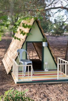 DIY A-Frame Playhouse! How cute is this!?!   How to Make a DIY Playhouse   Vintage Revivals
