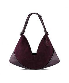ef4b71e25f9e Suede Leather Hobo Bag Top Handle Women Dumpling Bag Large Handbag - Dark  Purple - CY187N6M4EU