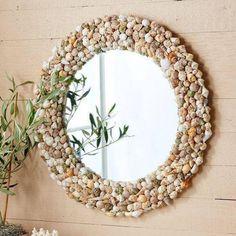 Mirror Crafts, Diy Mirror, Frame Crafts, Diy Frame, Wall Mirror, Mirror Mosaic, Mirror Ideas, Seashell Projects, Seashell Crafts