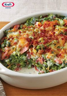 Creamy Broccoli-Bacon Bake ¬– Looking for a simply scrumptious side dish for this year's holiday party? Look no further! Shredded cheddar cheese and smoky bacon give this tasty broccoli back recipe its creamy, flavorful appeal.