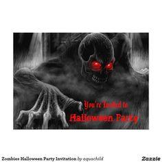 "Zombies Halloween Party Invitation 5"" X 7"" Invitation Card"