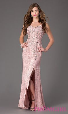 Sequin Embellished Floor Length Lace Prom Dress at PromGirl.com