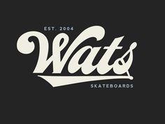 Wats Skateboards Script by Dermot Reddan Popular Script Lettering, Script Type, Vintage Lettering, Typography Letters, Lettering Design, Vintage Logos, Calligraphy, Typography Inspiration, Logo Design Inspiration
