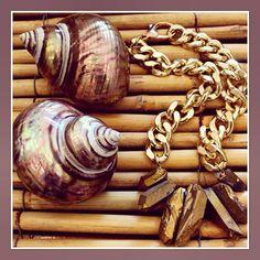 Crystal quartz necklace from Shh by Sadie. Shh by Sadie handmade in Wellington, New Zealand. handmade jewellery / designer necklace / summer style / fashion / beach babe/ boho / beach hair / statement necklace / aztec print / fashion blogger / style / beach style