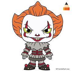 How To Draw How To Draw Pennywise the Clown - Art Drawing for Kids Halloween Cartoons, Dulceros Halloween, Halloween Painting, Halloween Drawings, Deadpool Chibi, Art Drawings For Kids, Drawing For Kids, Cartoon Drawings, Cute Drawings