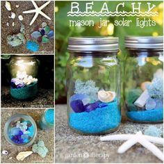 Beach Mason Jar Solar Lights
