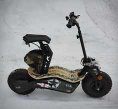 Velocifero MAD is a spectacular off-road electric scooter that oozes style and personality. The burly, fat-tired ride is an exceptional cross between a mini-scooter and an electric bike, and is itching madly to kick up dirt and spit out gravel while