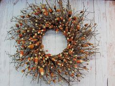 Primitive Halloween Candy Corn Berry Wreath  by Designawreath, $78.95
