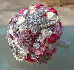 Pink brooch wedding bouquet