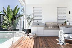 Small Outdoor Kitchens, Modern Outdoor Kitchen, Outdoor Rooms, Outdoor Living, Outdoor Parties, Outdoor Entertaining, Weatherboard Exterior, Alfresco Area, The Design Files