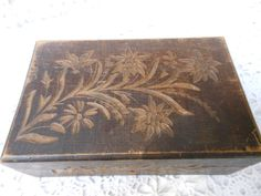 Old Carved Wood Box W Key Hole~hand Carved Flowers On 5 Sides~hinged Top~