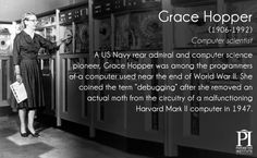 """Grace Computer scientist A US Navy rear admiral and computer science pioneer, Grace Hopper was among the programmers of a computer used near the end of World War II. She coined the term """"debugging"""" after she removed an actual moth. Margaret Hamilton, Great Women, Amazing Women, Super Women, Smart Women, Girls Rules, Badass Women, The More You Know, Interesting History"""