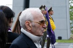 Singer Charles Aznavour attends a memorial service at the Tsitsernakaberd Armenian Genocide memorial complex in Yerevan Armenia - April 24, 2015