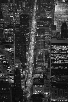 "Cameron Davidson ""NYC Fifth Ave"" Aerial of New York City Fifth Avenue at night. New York Photography, Street Photography, New York Beauty, Manhattan, Ny Ny, Black White Art, City That Never Sleeps, Concrete Jungle, Adventure Is Out There"