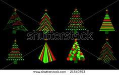set of vector christmas trees