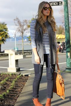 vest with striped shirt