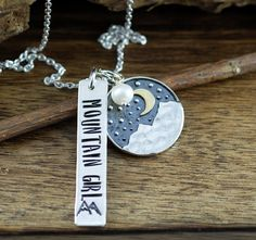 Hand Stamped Mountain Necklace, Mountain Girl Necklace, Personalized Necklace, Outdoor Necklace, Mountain Range Jewelry, GIft for Hiker by AnnieReh on Etsy Dog Tag Necklace, Washer Necklace, Hand Stamped Jewelry, Girls Necklaces, Mountain Range, Personalized Necklace, Metal Stamping, Sterling Silver Chains, Bronze
