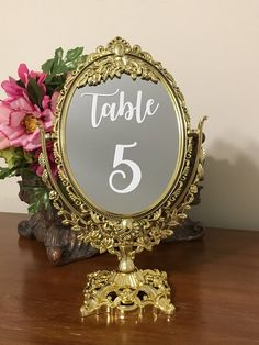 Set of mirror table numbers/Fairytale party ornate mirrors with decal number/Mirror table numbers/Fairytale table numbers/Snow white party Sweet 16 Themes, Sweet 16 Decorations, Quince Decorations, Quinceanera Decorations, Wedding Table Numbers, Wedding Reception Decorations, Wedding Ideas, Disney Table Numbers, Wedding Receptions