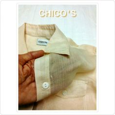 SALECHICOS - SEMI SHEER CREAM COLOR TOP CHICO'S SZ 1 CREAM SEMI- SHEER RIBBED BUTTON DOWN SHIRT    Sleeves have lapel to roll up sleeves    Button down, two pockets    Very Soft & Semi-Sheer Riblike material    Chico's size 1 CHICO'S Tops Button Down Shirts