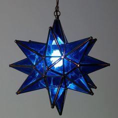 The cobalt blue glass in this hanging star lamp will add a colorful rustic feel to your southwest style interior or outdoor space. These authentic glass star lanterns are all handcrafted by Mexican artisans. Im Blue, Blue And White, Blue Ivy, Azul Indigo, Star Lamp, Star Lanterns, Cobalt Glass, Himmelblau, Murano