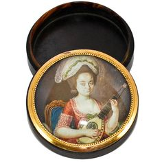 Rare French Tortoise Shell Portrait Miniature Snuff Box  Photo credit: Antiques & Uncommon Treasure