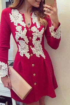 Single-Breasted Lace Spliced Fit And Flare Dress RED: Long Sleeve Dresses | ZAFUL