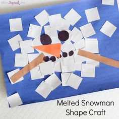 letter s Melted snowman shape craft. A fun winter craft for kids! Learn shapes and develop fine motor skills. Preschool Projects, Daycare Crafts, Classroom Crafts, Snowman Crafts For Preschoolers, Winter Activities For Preschoolers, Pre School Crafts, Preschool Art Activities, Classroom Ideas, Winter Art Projects