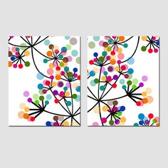 Modern Abstract Botanical Floral Duo - Set of Two 11x14 Prints - Colorful Wall Art - Black, White, Red, Purple, Orange, Blue, Yellow, Green