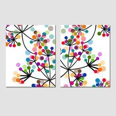 Dúo flores botánico abstracto moderno juego de por Tessyla en Etsy