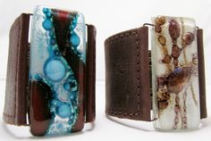 Bracelets+Leather+and+fused+glass+cuff+with+fused+by+CarliBruno,+$48.00 Leather Accessories, Leather Jewelry, Jewelry Art, Jewelry Ideas, Lace Silk, Fused Glass Jewelry, Painting Leather, Resin Crafts, Leather Cuffs