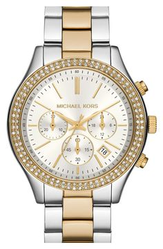 This gold and silver crystal Michael Kors timepiece is  a glamorous take on an innate athletic chronograph watch.