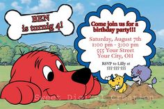Clifford Invitation, Clifford The Big Red Dog Birthday Party Invitation