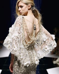 White Lace Plunging Back Dress with Pearls, Zuhair Murad