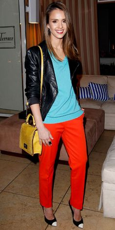 03/17/12: What better way to honor her hue-loving stylist (and pal) than with lots of color? #JessicaAlba expertly mixed teal, orange and yellow for a chic and playful look. http://www.instyle.com/instyle/celebrities/lotdpopup/0,,20579304_21134632,00.html