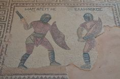 https://flic.kr/p/BbGVu1 | Mosaic depicting two gladiators in combat, their names in Greek listed above: Margarites (left) and Hellenikos (right), late-3rd century AD, House of the Gladiators, Kourion, Cyprus