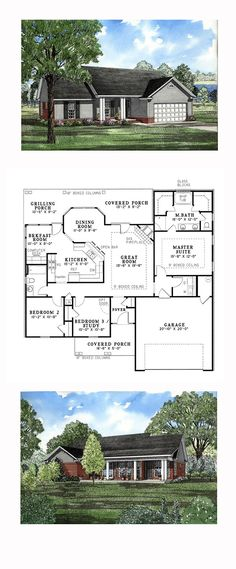 Ranch House Plan 82026 | Total Living Area: 1525 sq. ft., 3 bedrooms and 2 bathrooms. The great room, complete with fireplace, is the central entertaining area of your home. In your spacious kitchen you will be able to prepare anything your guest desires. #ranchhome