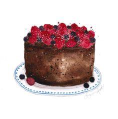 chocolate cake watercolor